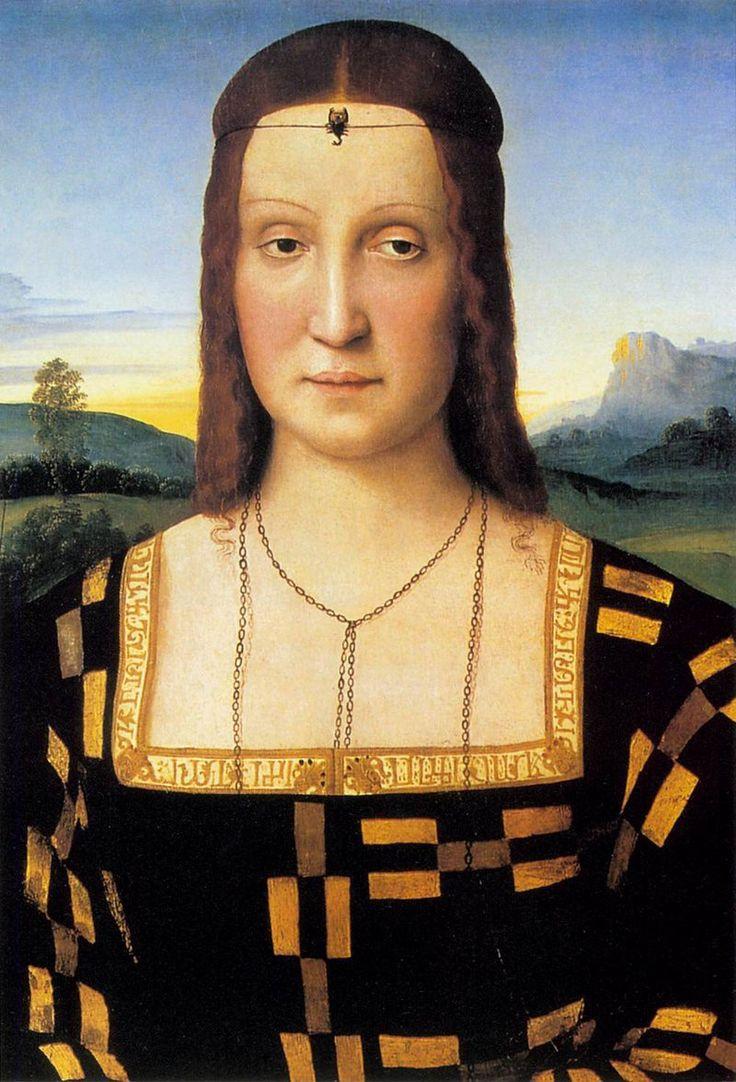 Ritratto di Elisabetta Gonzaga Raffaello 1504-1505 olio su tavola Galleria degli Uffizi, Firenze