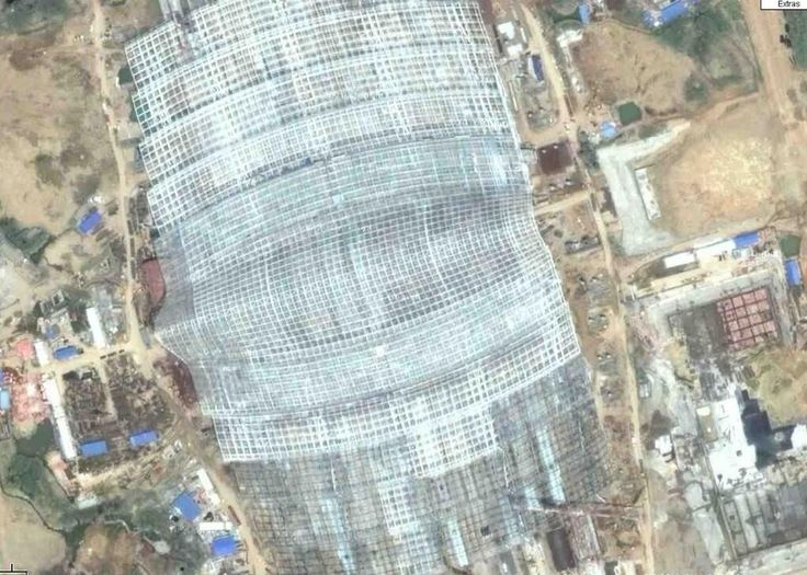 Wuhan railway station structure view from satellite during construction - Arep / MaP3 - 2009
