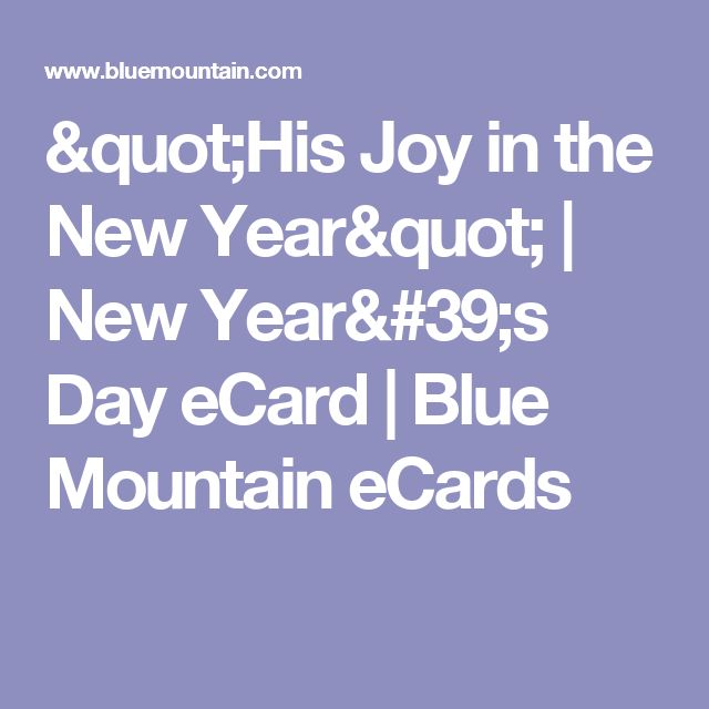 """His Joy in the New Year"" 