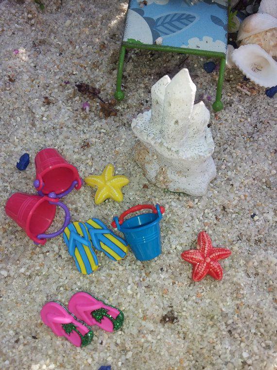 Gnome Garden: Fairy Garden Beach Miniature Set!! Flip Flops, Sand Pail