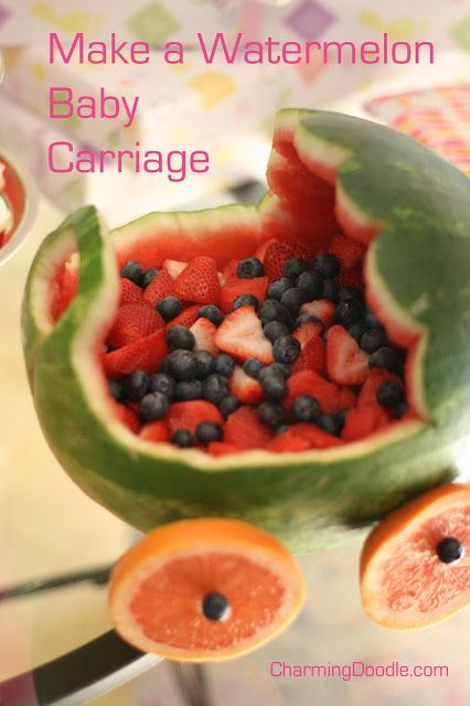 Tutorial: how to make a watermelon baby carriage for a baby shower.