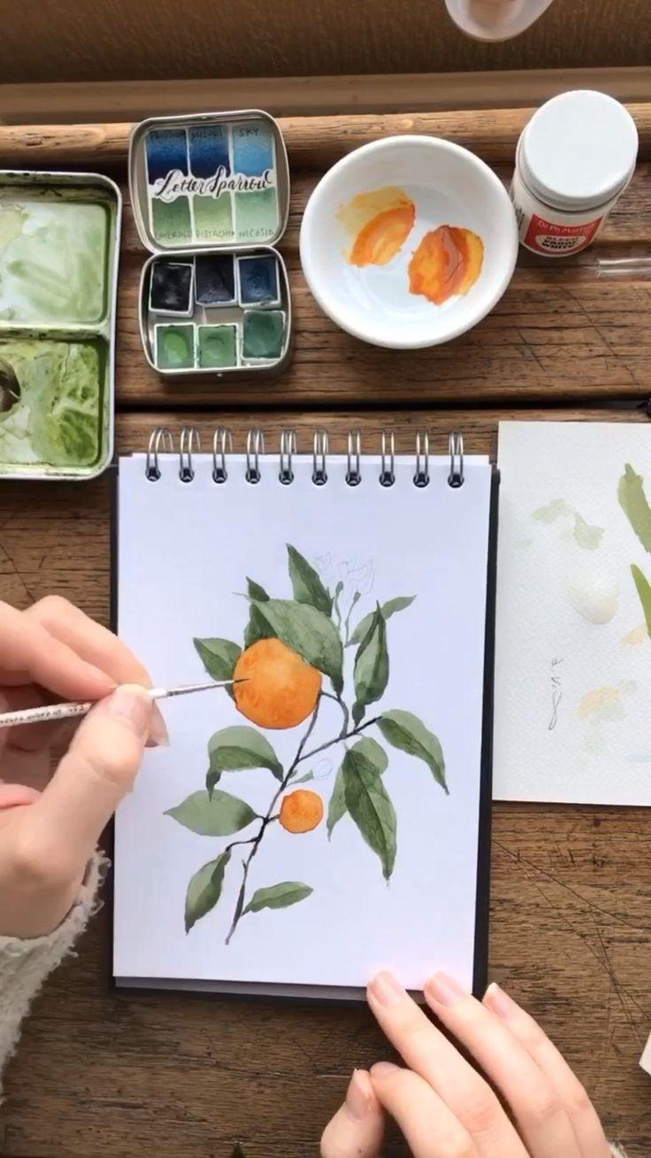 Botanisches Aquarell Hyperlapse – Orangenblüte