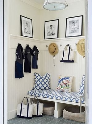 mud room.  love the lattice fabric cushion and pillows.: Coats Hooks, East Hampton, Garage Entry, Decor Ideas, Beaches House, Mudrooms, Mud Rooms, Laundry Rooms, Entryway
