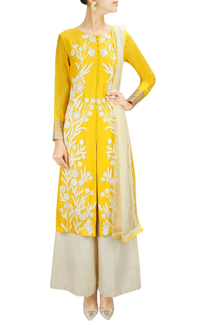 Lovely lime yellow zardozi embroidered straight kurta set, great for wearing to a wedding!