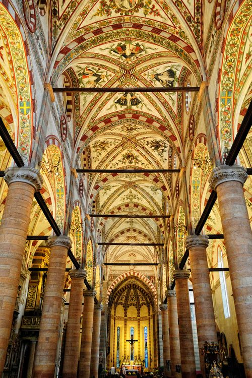 Sant'Anastasia Verona church cathedral vault architecture art painting ceiling travel italy