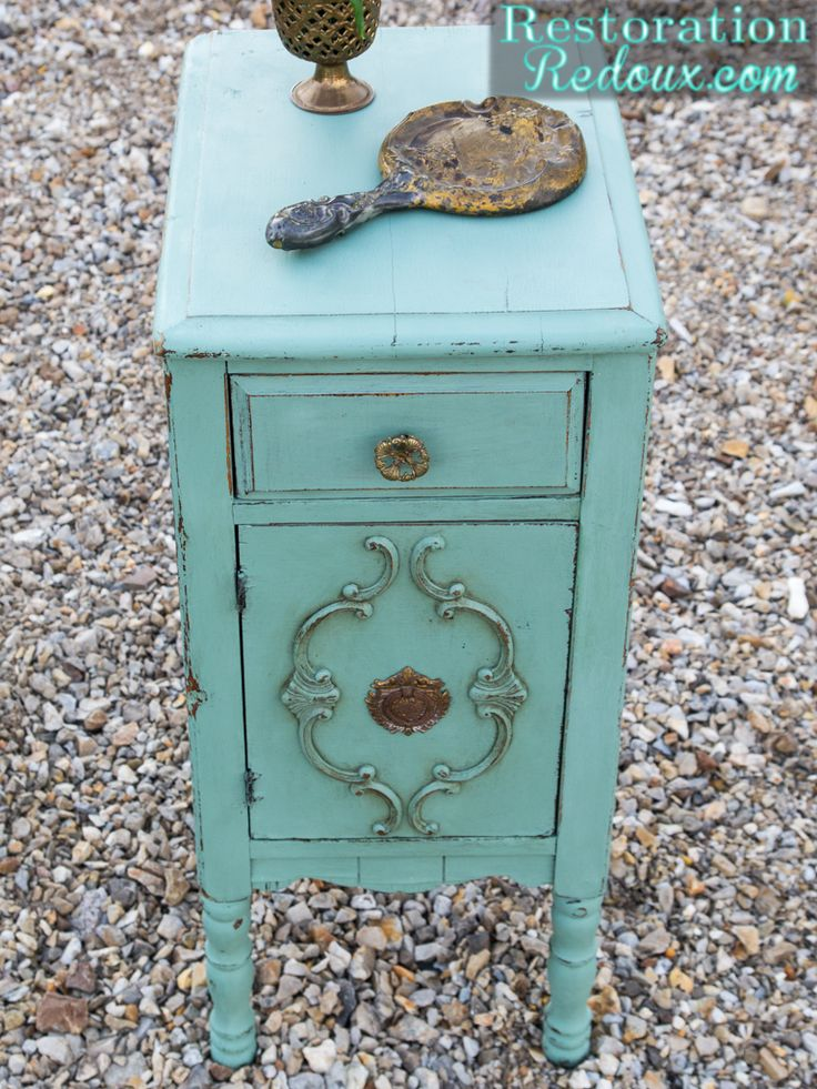 Milkpainted Antique End Table - Restoration Redoux