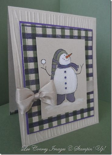 Do you see the plaid background in Lee's cute Snow Much Fun card? She explains how to make it using the Stripes embossing folder, 2 colors of ink, & a brayer.