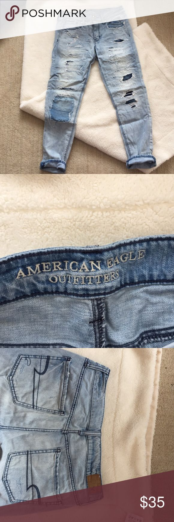 American eagle Tomgirl jeans In perfect condition, ordered them online and unfortunately didn't fit me/: fit loose around thigh area and slim towards ankles! Patches on front of pants! American Eagle Outfitters Jeans Boyfriend
