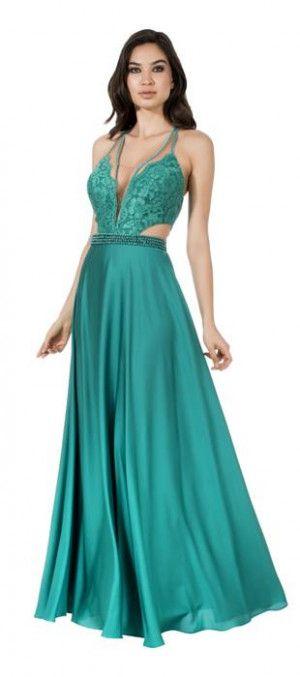 Vestido de formatura ou madrinha de casamento. Vestido de festa longo verde.