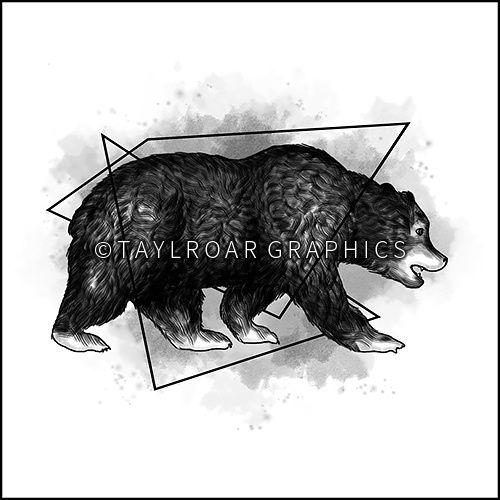 Grizzly bear with geometric elements custom tattoo design. www.taylroargraphics.com