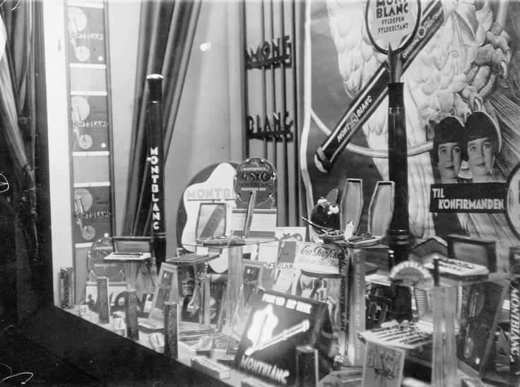 """Montblanc book: Montblanc window exhibition c. 1930 Copenhagen. """"Why is Denmark so special about Montblanc pens?"""" Answer: """"look at the window"""". Provenance: Alfred Th Öberg Company - Montblanc General Agent 1921-1975"""