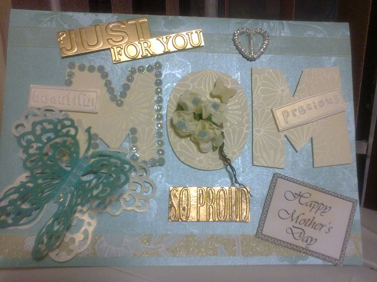 Personalized Light Blue, Gold And Creams Mothers Day Card