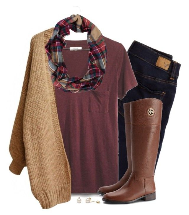 """""""Loose cardigan, burgundy and plaid"""" by steffiestaffie ❤ liked on Polyvore featuring American Eagle Outfitters, Madewell and Tory Burch"""