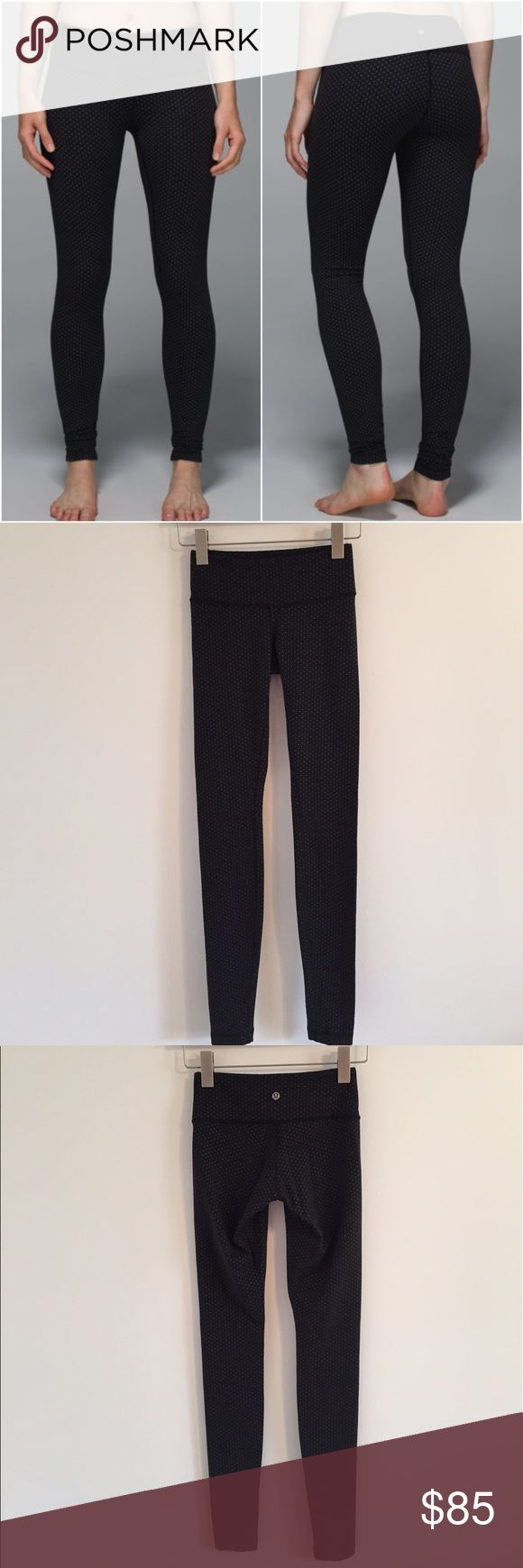 Lululemon wunder under pants Lululemon wunder under pants full on Luon in teeny dot black/white, size 2, excellent condition with no flaws (meaning no piling/seam damage/rips/holes/stains/fading/etc). Bundle to save 10% off ❤    last 2 pics are with the camera flash on lululemon athletica Pants Leggings