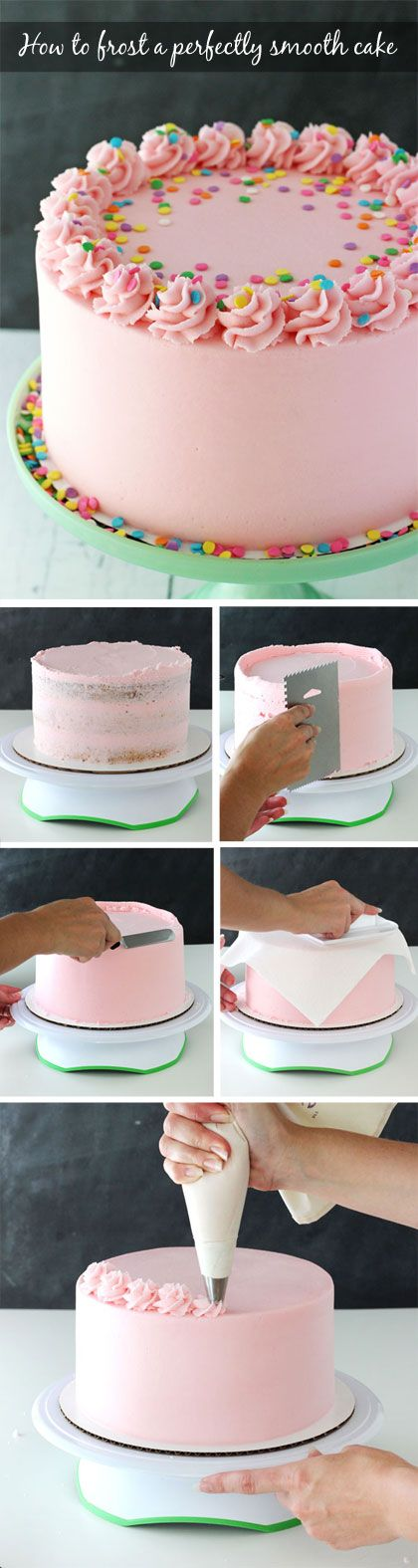 Tutorial for how to frost a perfectly smooth cake with buttercream icing. Images and animated gifs with detailed instructions.