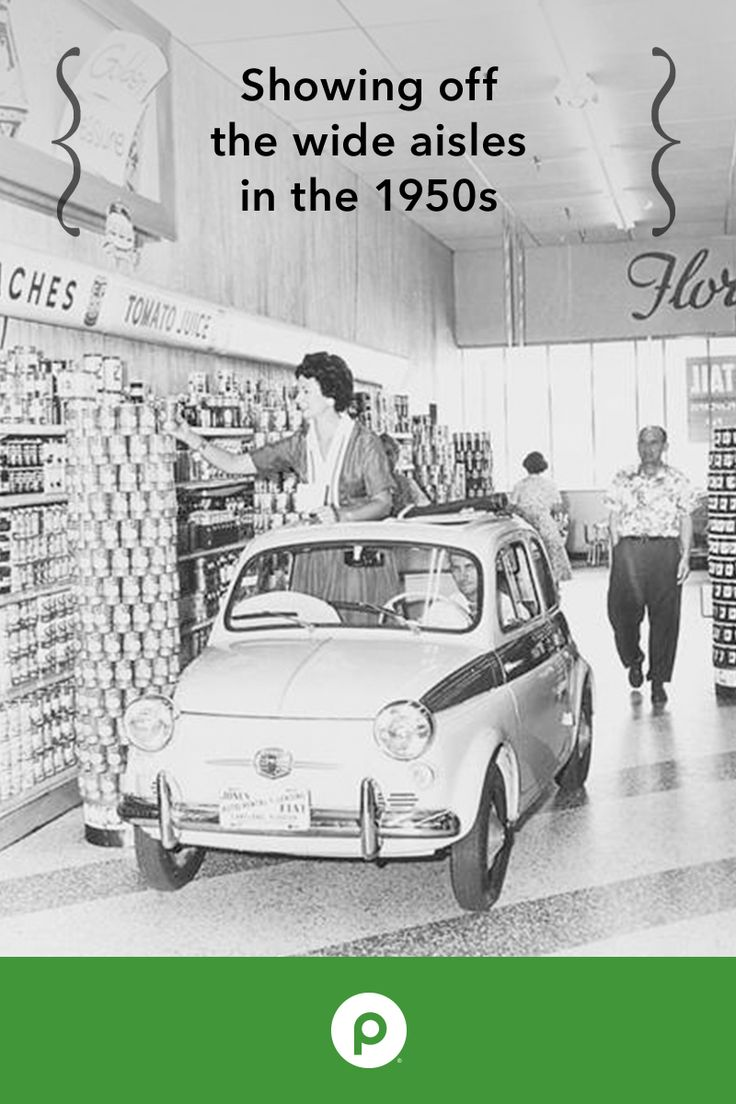 In the '50s, Publix was known for its unique features and amenities. The woman featured in this photo is Elsie Estroff, a local model. She was photographed in a Fiat to show how wide the aisles were in the store.