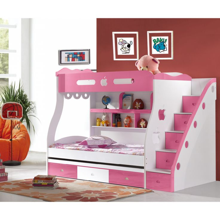 Adorable Full Kids Bedroom Set For Girl Playful Room Huz: Chic White Pink Girls Bunk Bed Design For Cheerful Girls