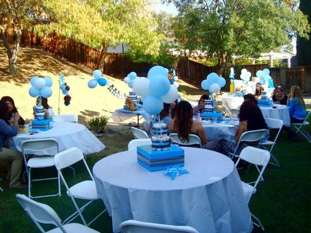 blue and brown teddy bears baby shower party ideas photo 1 of 26