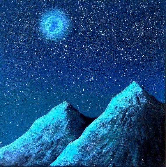 Tableau De Nuit Pleine Lune Et Montagnes Decor Mural Peinture