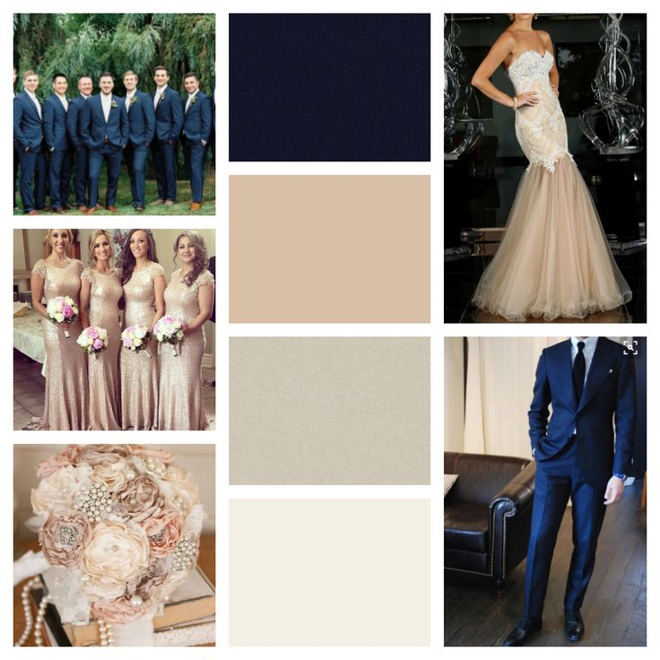 Navy blue, nude, champagne, ivory and blush