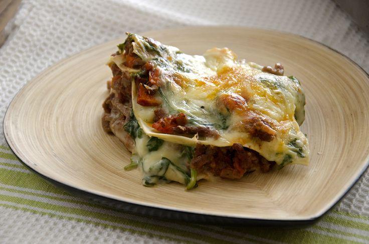 lasagne med spinat og kjøttdeig