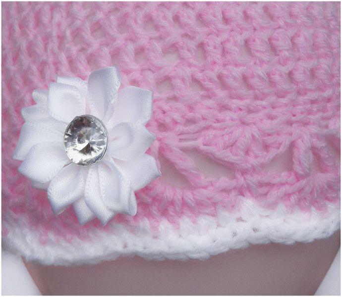 """Różowa czapeczka """"Witaj na świecie Skarbie"""" - Fantazja-handmade - Czapeczki dla niemowląt"""