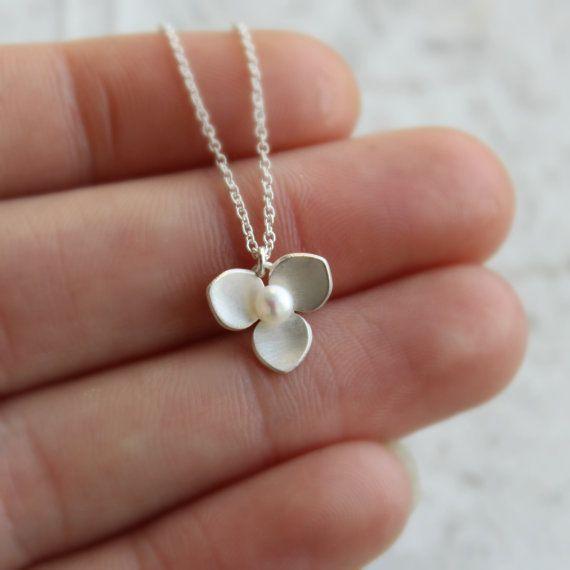 Collana fiore argento - argento e perla collana - collana trifoglio Mini