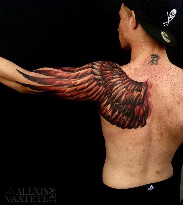 Owl Wing Shoulder Blade & Arm Piece   Best tattoo design ideas