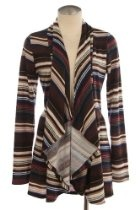 STRIPE PRINT DRAPED KNIT CARDIGAN