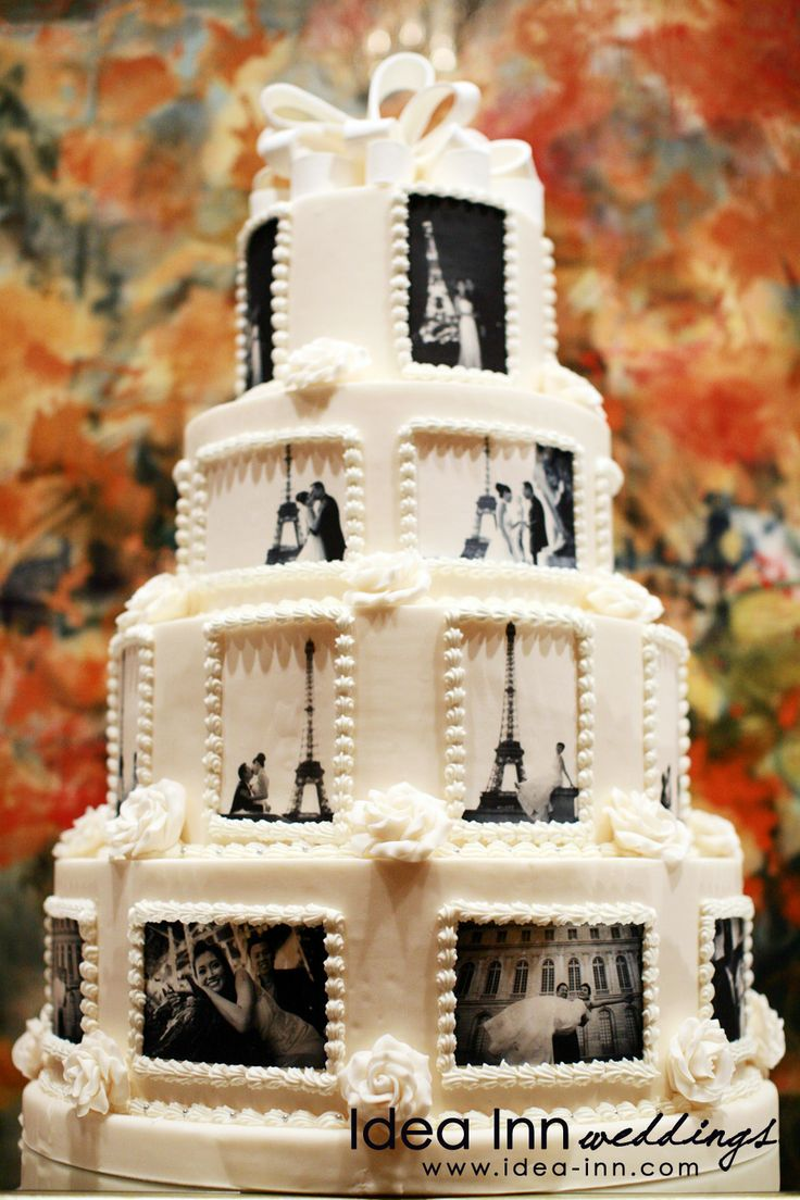 23 best 20th wedding anniversary ideas images on pinterest a beautiful cake decorated with pictures of memorable moments negle Image collections