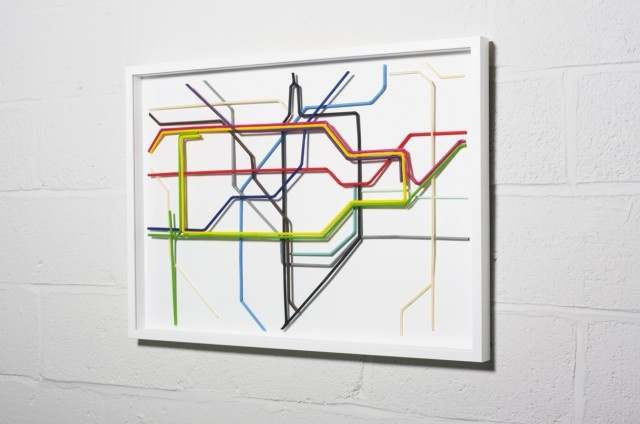 Two of my favorite things, straws and the tube! Tube map made out of straws!