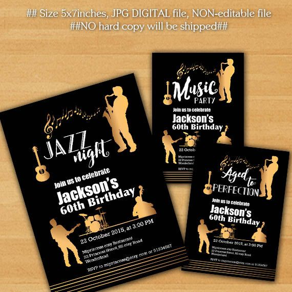 Jazz birthday invitation Music Jazz nigh Aged to by miprincess