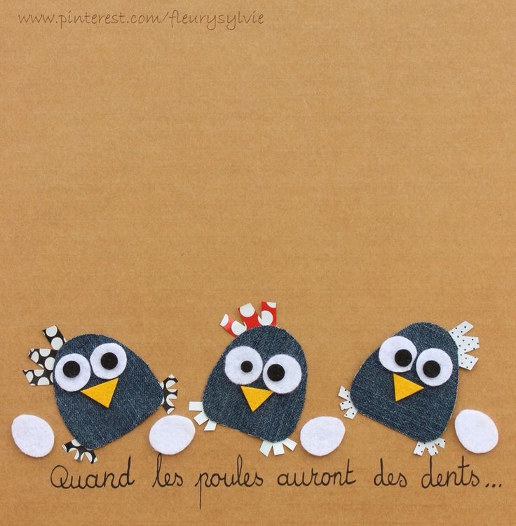 Quand les poules auront des dents;-) #jeans #recycle http://pinterest.com/fleurysylvie/mes-creas-la-collec/