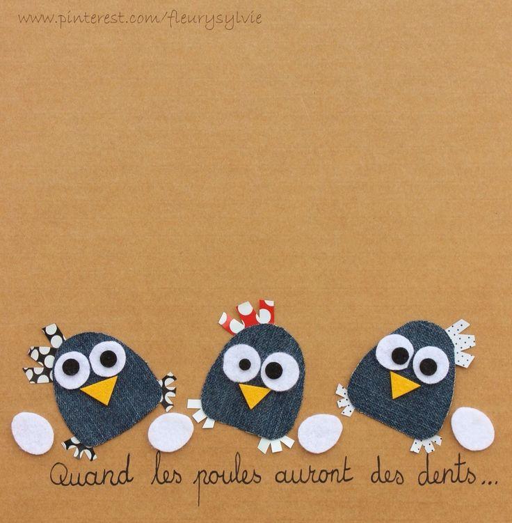 Quand les poules auront des dents;-) #jeans #recycle http://pinterest.com/fleurysylvie/mes-creas-la-collec/ et www.toutpetitrien.ch