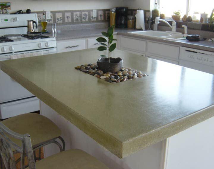 Customer Concrete Kitchen Countertop Island Made With Cheng Pro Formula Mix In Olive