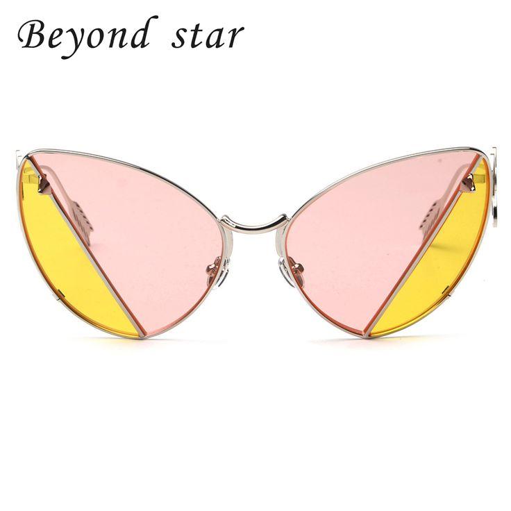 Beyond Star Fashion Metal Frames Cat Eye Sunglasses Party Two Tone Retro Sunglasses Pink Yellow Tinted Lens UV400 Gafas De Sol