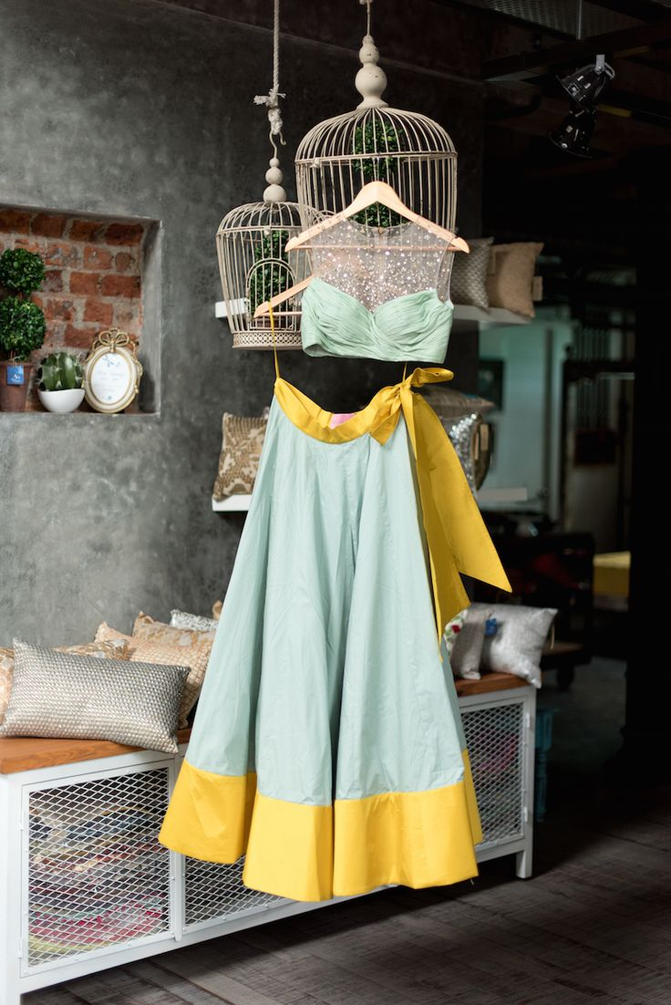 Mint green lehenga with sequinned blouse