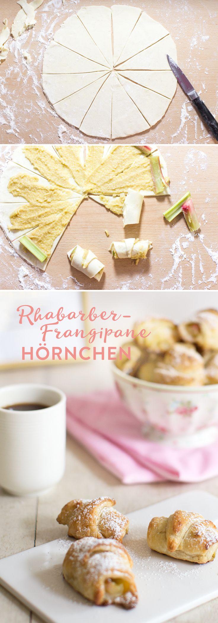 Rhabarber Frangipane Hörnchen, super blättrig und lecker! Rezept von feiertaeglich.de #rhabarbermania