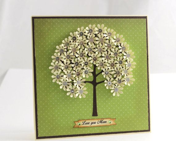 Mother's Day Handmade Card Love you Mom Card by CardamomsArt