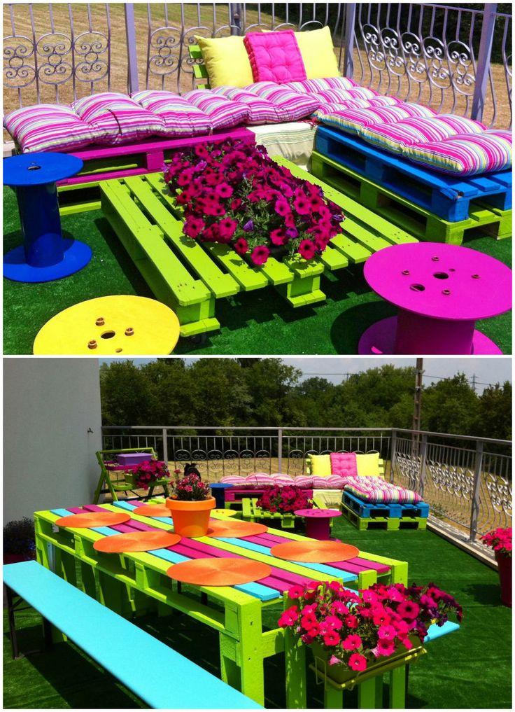 ✿♥♥ les palettes en couleur pour le jardin et la terrasse ✿♥♥✿