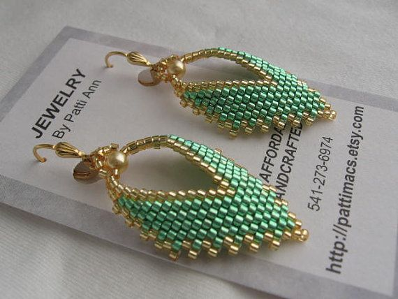 Russian Leaf Earrings Mint Green by pattimacs on Etsy