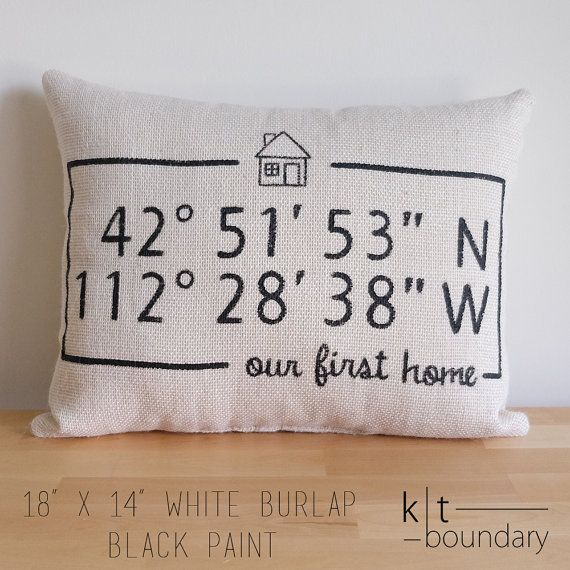 Personalized Map Coordinates Burlap Pillow First by ktboundary24