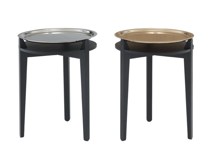 SIDE TABLE.  Support in solid black ash with removable tray in either nickel or copper plate. Diam 40 x H 50 cm