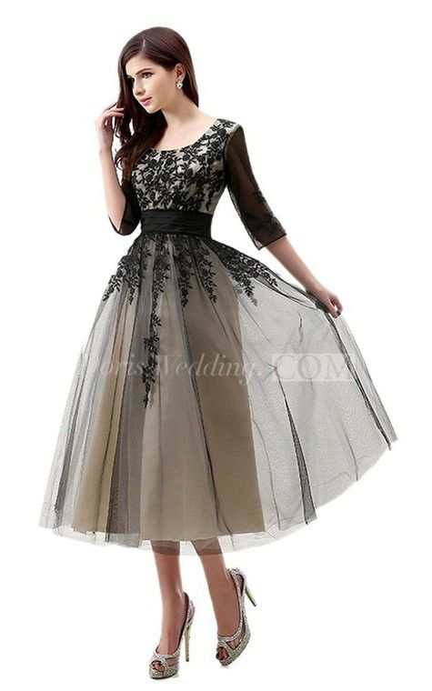 3/4 Sleeved Tea Length Dress With Appliques And Illusion · Wedding Guest ...