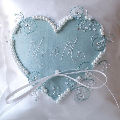 Duck Egg Personalised Wedding Ring Pillow Handmade In The UK GBP5499