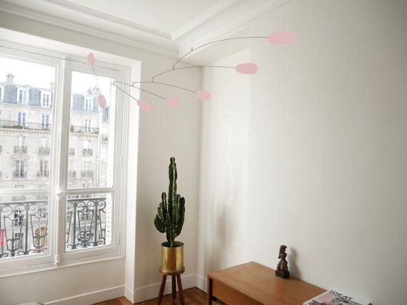 Mobile pink in metal for design decoration by VOLTAParis on Etsy