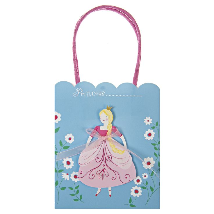 I'm a Princess Party Bags ~  Every princess must return from the ball with a collection of treasures, gifts from her admirers.  So what does one carry them all in?  Here we have the solution, a party bag fit for a little princess, featuring a die-cut princess motif adorned with a sheer pink ribbon and finished with bright pink string handles.  Pack contains 8 bags £10.00
