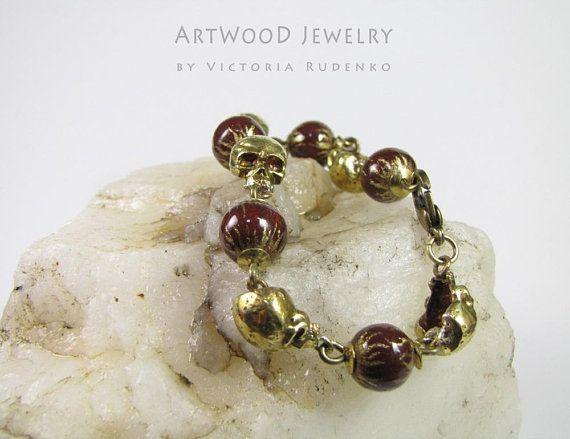 Skull Bracelet Brass Beaded Bracelet Wooden Bracelet Golden
