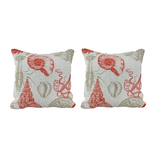 Coastal Coral Indoor/Outdoor Sea Life Throw Pillow Set of 2, White (Polyester), Outdoor Cushion