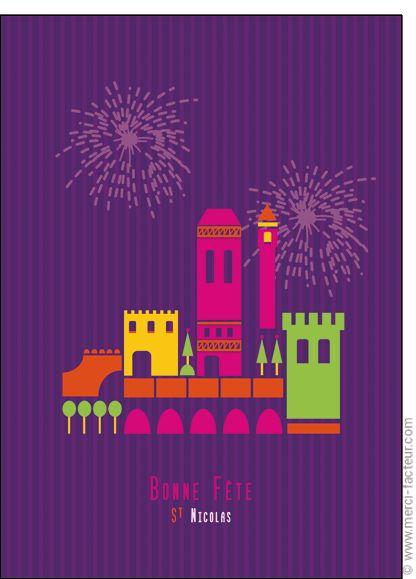 #Carte #SaintNicolas #stNicolas Carte Le feu d'artifice de Saint Nicolas pour envoyer par La Poste, sur Merci-Facteur !